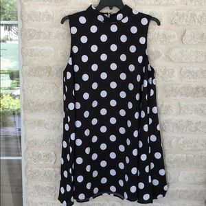 J by JOA black sleeveless polka dot dress 2XL
